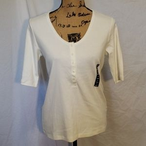 NWT Lands End Henley Ivory Short Sleeve Shirt XS